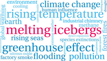 Melting Icebergs word cloud on a white background. Ilustração
