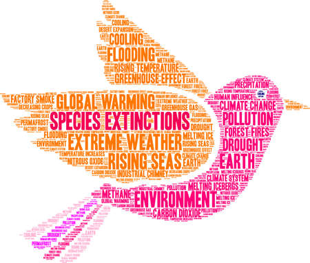 Species Extinctions word cloud on a white background. Banque d'images - 114403617