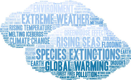 Species Extinctions word cloud on a white background. Banque d'images - 114403628