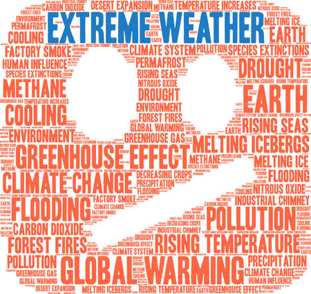 Extreme Weather word cloud on a white background. Vectores