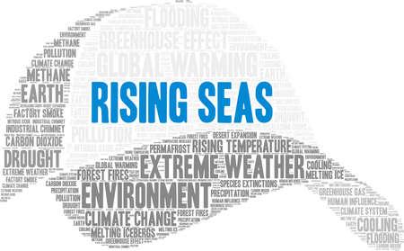 Rising Seas word cloud on a white background. Иллюстрация