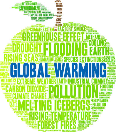 Global Warming word cloud on a white background. Banco de Imagens - 114403759
