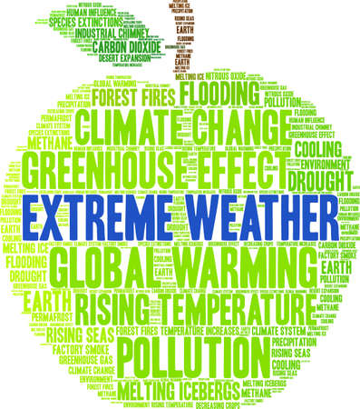 Extreme Weather word cloud on a white background. 일러스트