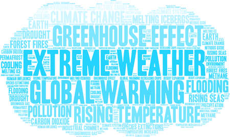 Extreme Weather word cloud on a white background. Illustration