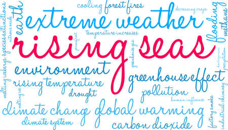 Rising Seas word cloud on a white background. Ilustrace