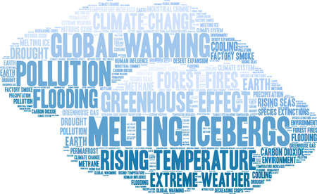 Melting Icebergs word cloud on a white background. 矢量图像