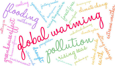 Global Warming word cloud on a white background. 矢量图像