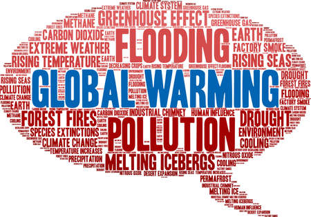 Global Warming word cloud on a white background. Ilustração