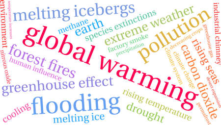 Global Warming word cloud on a white background. Иллюстрация