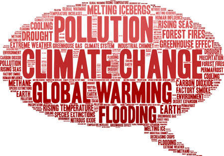 Climate Change word cloud on a white background. Banque d'images - 114403940