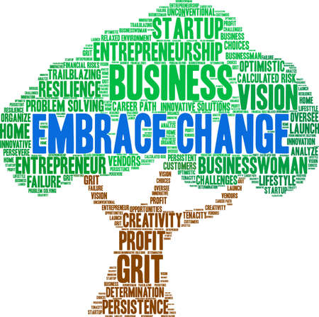 Embrace Change word cloud on a white background. Stockfoto - 115365676