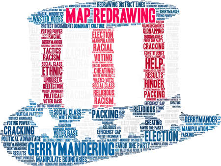 Map Redrawing in gerrymandering word cloud on a white background. Standard-Bild - 115365692