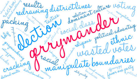 Gerrymander word cloud on a white background.