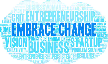 Embrace Change word cloud on a white background. Vettoriali