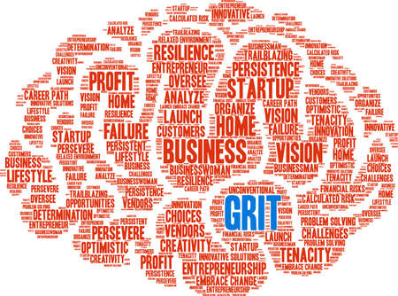 Grit in Entrepreneurship Word Cloud on a white background. Vetores