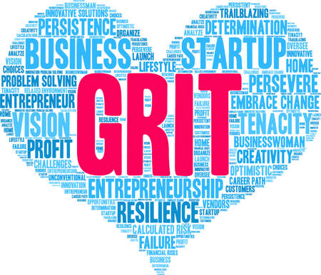 Grit in Entrepreneurship Word Cloud on a white background. Stock Illustratie
