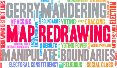 Map Redrawing in gerrymandering word cloud on a white background. Standard-Bild - 115365815