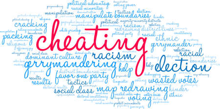 Cheating with Gerrymandering word cloud on a white background. Standard-Bild - 115365897