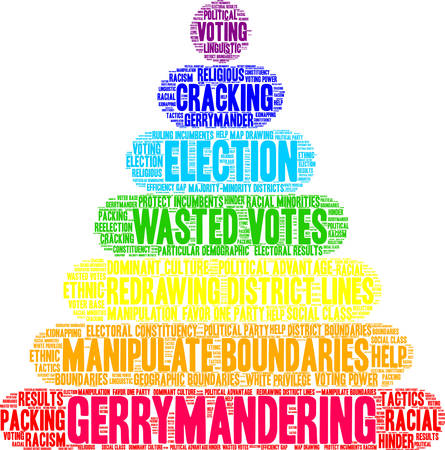 Gerrymandering word cloud on a white background. Illustration