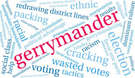 Gerrymander word cloud on a white background.