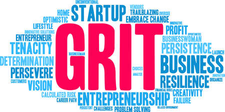 Grit in Entrepreneurship Word Cloud on a white background. Foto de archivo - 115365930