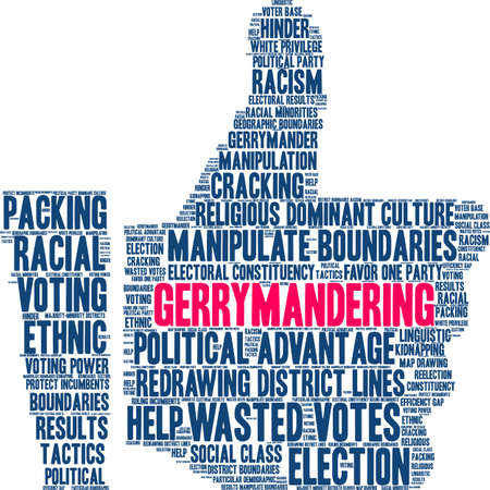 Gerrymandering word cloud on a white background. 向量圖像