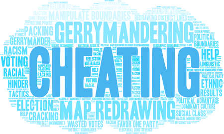 Cheating with Gerrymandering word cloud on a white background.