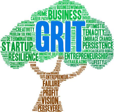 Grit in Entrepreneurship Word Cloud on a white background. Stockfoto - 115366016