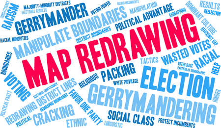 Map Redrawing in gerrymandering word cloud on a white background. 版權商用圖片 - 115366028