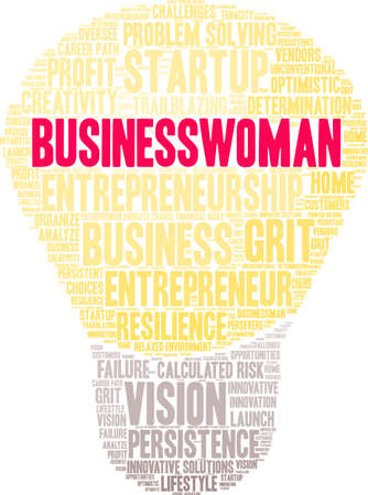 Businesswoman word cloud on a white background. Çizim