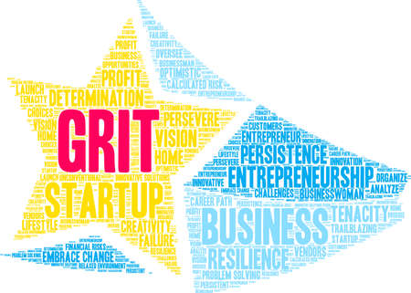 Grit in Entrepreneurship Word Cloud on a white background. Illustration