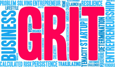 Grit in Entrepreneurship Word Cloud on a white background.