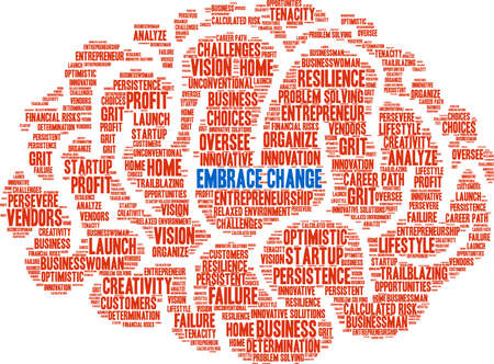 Embrace Change word cloud on a white background. Stock Illustratie