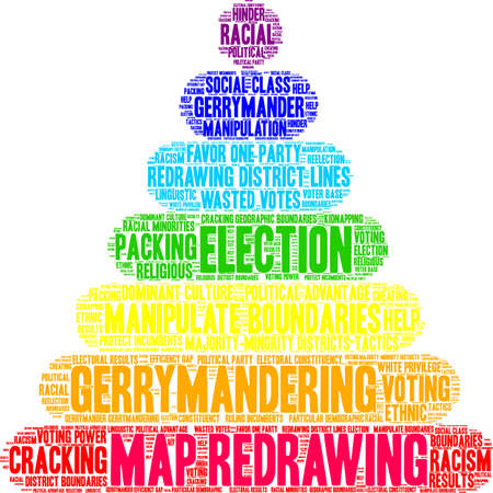 Map Redrawing in gerrymandering word cloud on a white background.