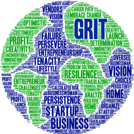 Grit in Entrepreneurship Word Cloud on a white background. Foto de archivo - 115366332