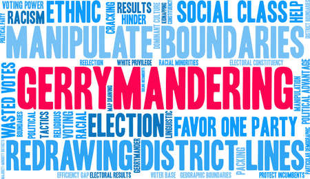 Gerrymandering word cloud on a white background. Ilustração