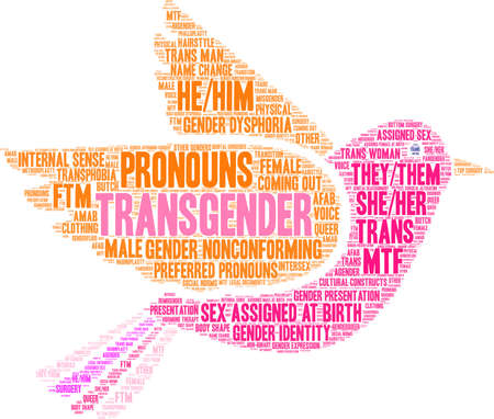 Transgender word cloud on a white background.