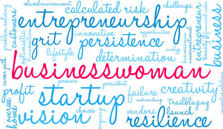 Businesswoman word cloud on a white background.