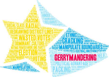 Gerrymandering word cloud on a white background. Illusztráció