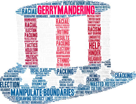 Gerrymandering word cloud on a white background.
