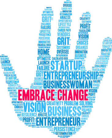 Embrace Change word cloud on a white background. Stockfoto - 115366593