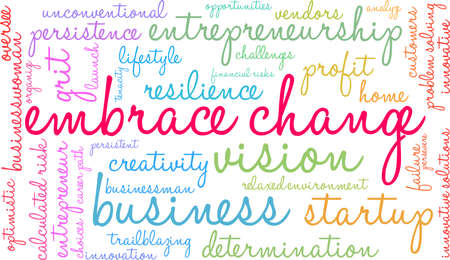 Embrace Change word cloud on a white background. Stockfoto - 115366596