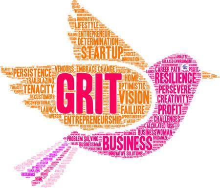 Grit in Entrepreneurship Word Cloud on a white background. Foto de archivo - 115366631