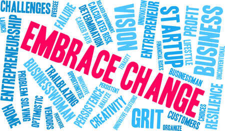 Embrace Change word cloud on a white background. Illustration