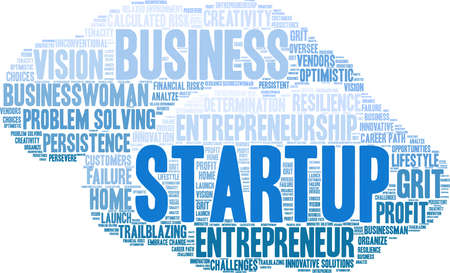 Startup word cloud on a white background. Stock Illustratie
