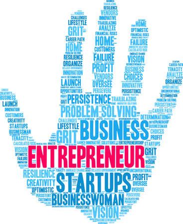 Nuage de mot entrepreneur sur fond blanc.