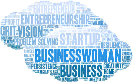 Businesswoman word cloud on a white background. Vettoriali