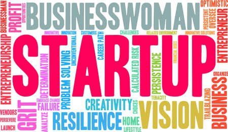 Startup word cloud on a white background. Foto de archivo - 115366914