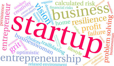 Startup word cloud on a white background. Vettoriali
