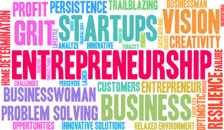 Entrepreneurship word cloud on a white background.
